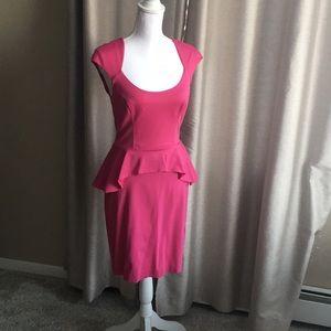 Hot pink peplum style midi dress